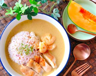 雑穀米のグリーンカレー